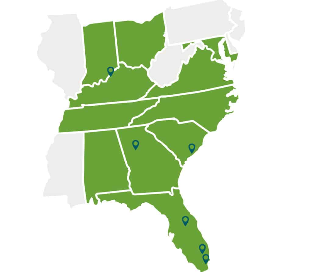 Map of eastern United States with Aldora service area highlighted in green
