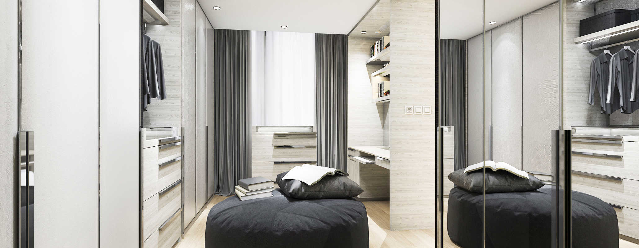 Walk in closet with a chair in the middle of the room and a window on the far wall. Cabinets, handing racks and Aldora custom mirror closet doors cover the other walls.